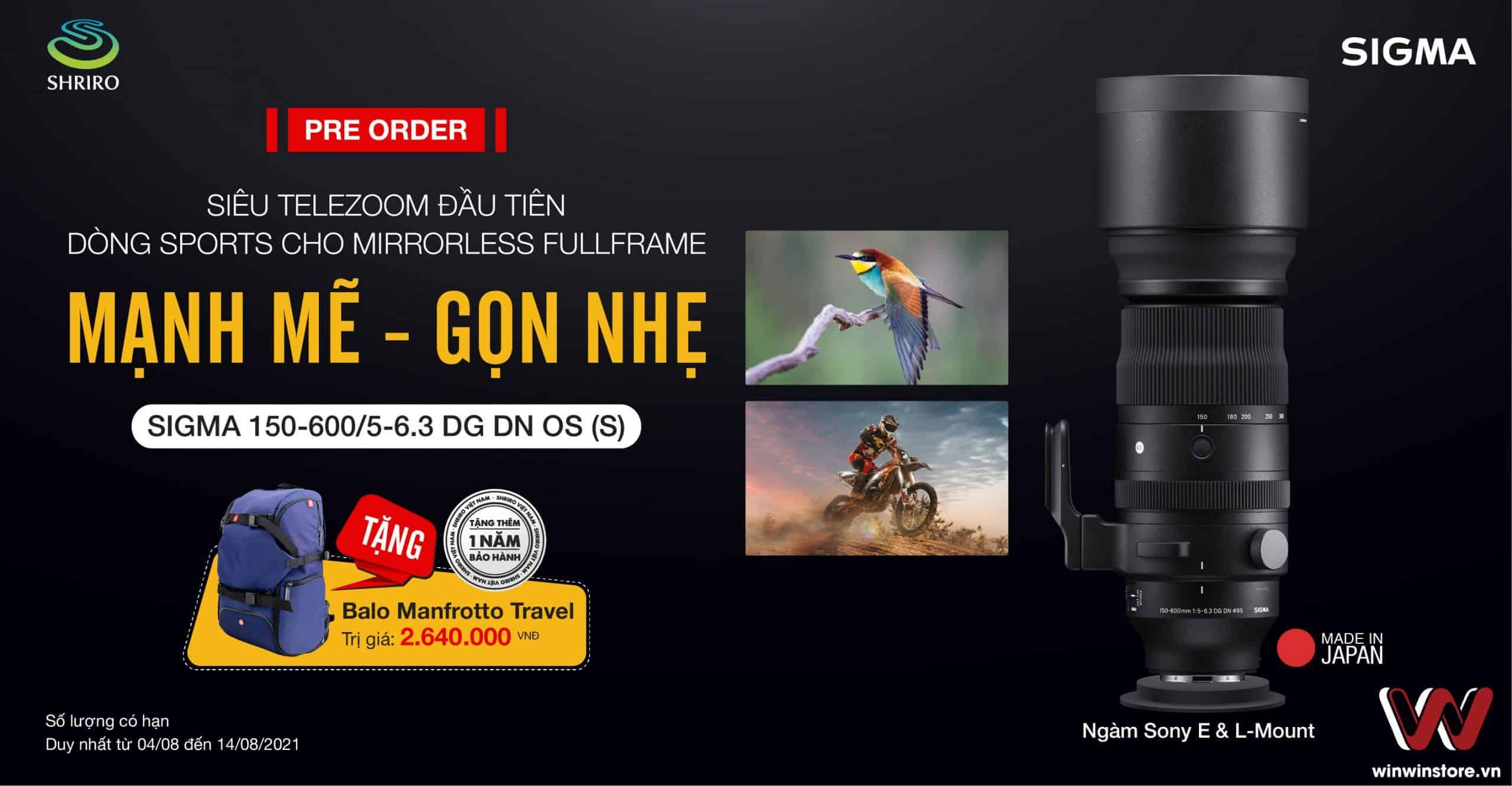 Đặt trước ống kính Sigma 150-600mm F5-6.3 DG DN OS Sports cho Sony E